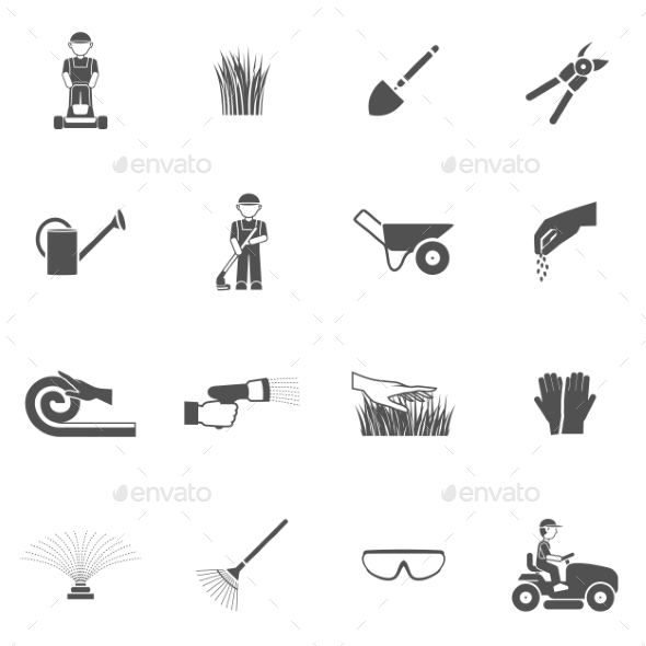 GraphicRiver Lawn Man Icon Set 10526752