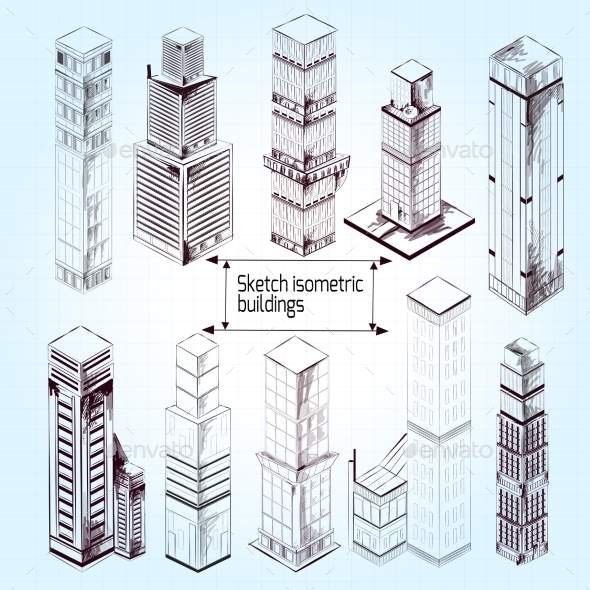 GraphicRiver Sketch Isometric Buildings 10526763