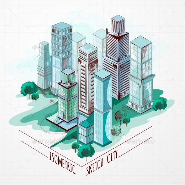 GraphicRiver Isometric Sketch City Colored 10526769