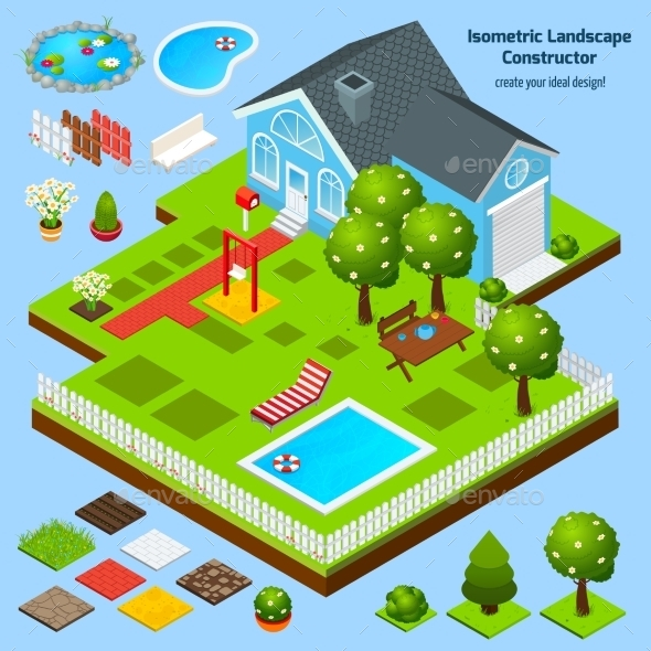 GraphicRiver Landscape Design Isometric 10526799