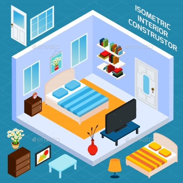 GraphicRiver Isometric Bedroom Interior 10526802