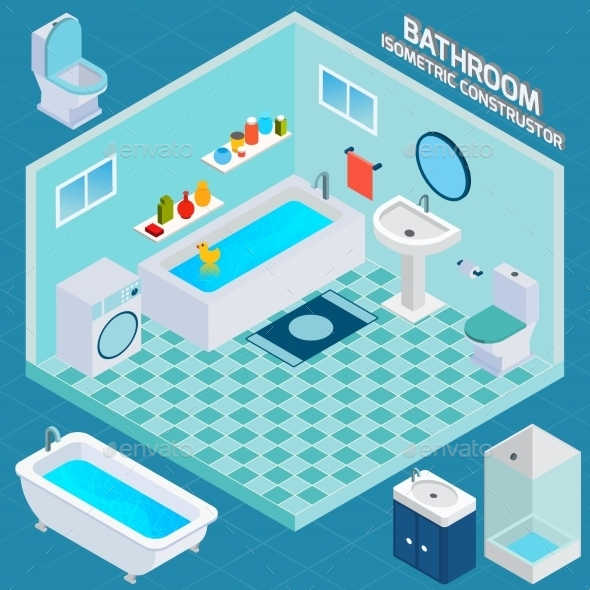 GraphicRiver Isometric Bathroom Interior 10526843