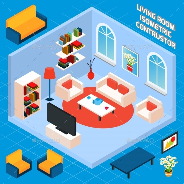 GraphicRiver Isometric Living Room Interior 10526847