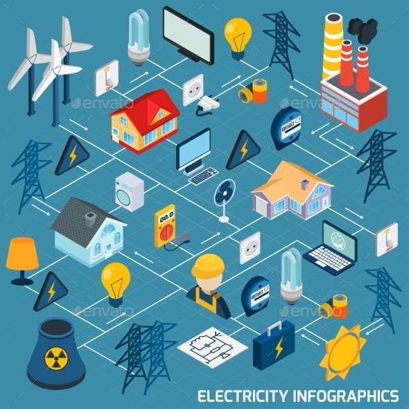 GraphicRiver Electricity Isometric Flowchart 10526893
