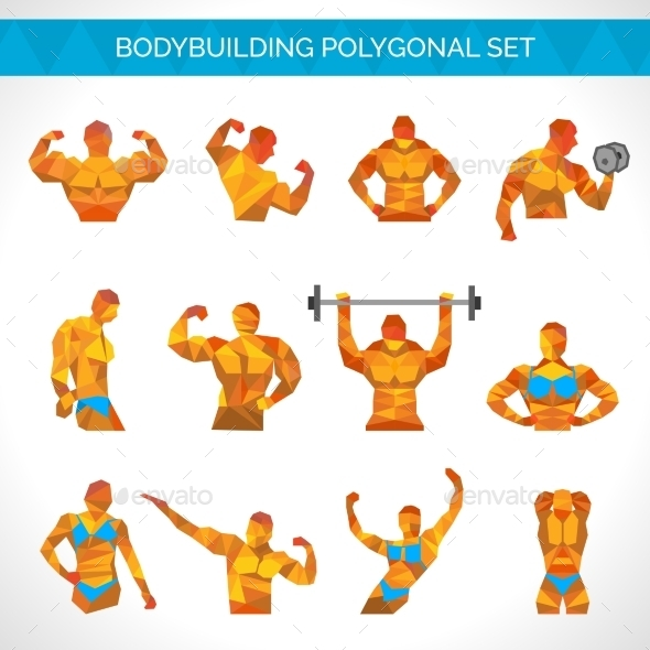 GraphicRiver Bodybuilding Polygonal Icons Set 10526907