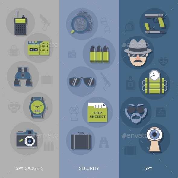 GraphicRiver Spy Gadgets Banners Set 10526951