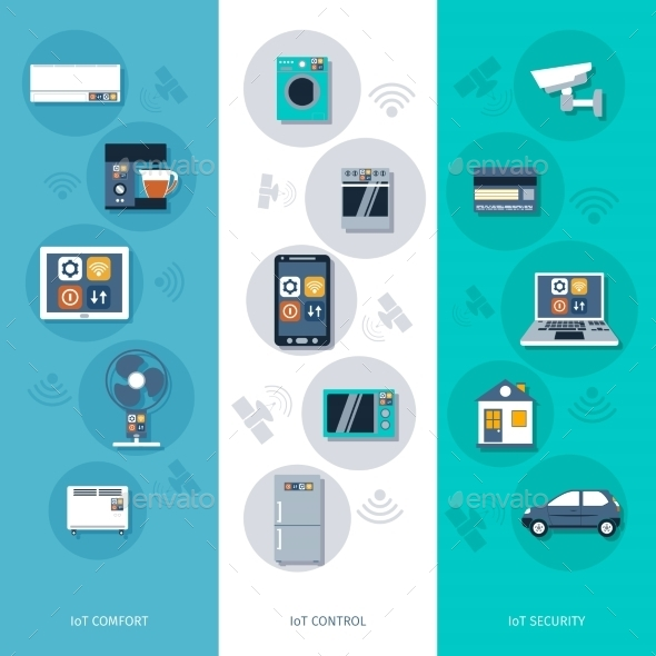 GraphicRiver Internet of Things Flat Banners Set 10526953