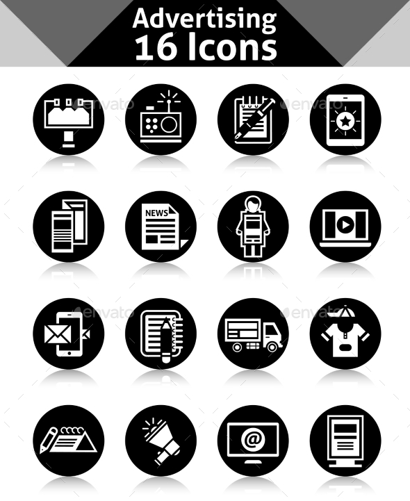 GraphicRiver Advertising Icons Black 10527055