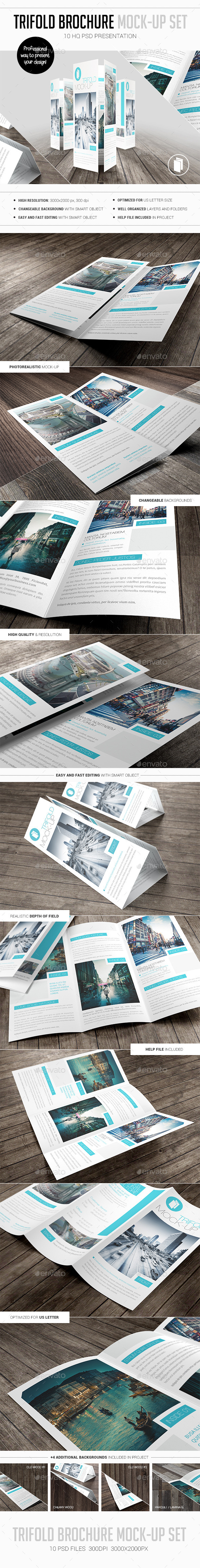 GraphicRiver Trifold Brochure Mock-Up Set 10475478