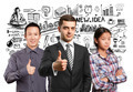 Asian team and lamp head business people with laptops - PhotoDune Item for Sale