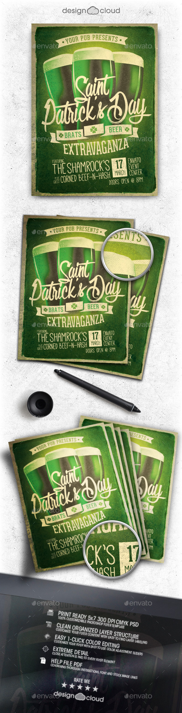 GraphicRiver Retro St Patrick s Day Party Flyer Template 10527395