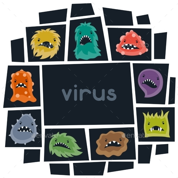GraphicRiver Background with Little Angry Viruses and Monsters 10527782