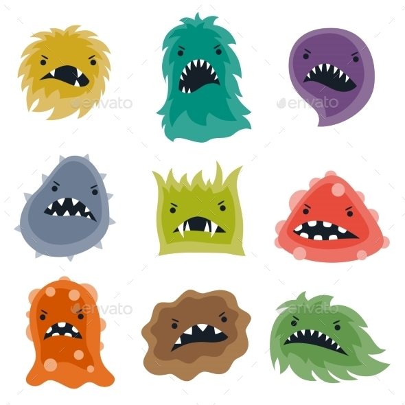 GraphicRiver Set of Little Angry Viruses and Monsters 10527788