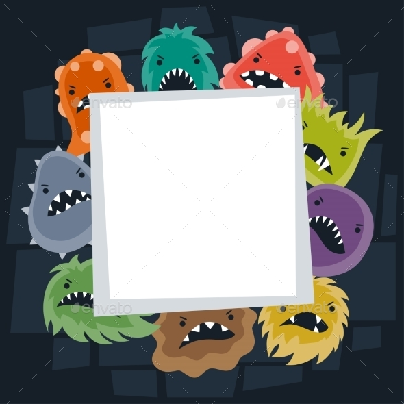 GraphicRiver Background with Little Angry Viruses and Monsters 10527790