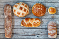 Various Bread Types On Wood Background - PhotoDune Item for Sale