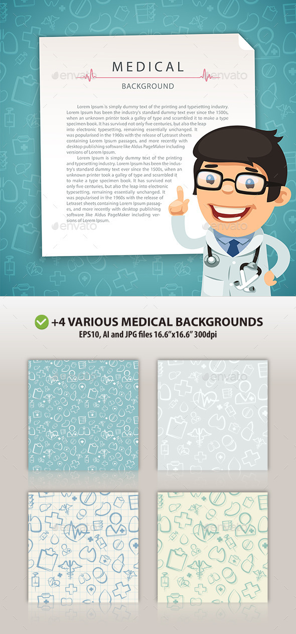 GraphicRiver Aquamarine Medical Background with Doctor 10527877
