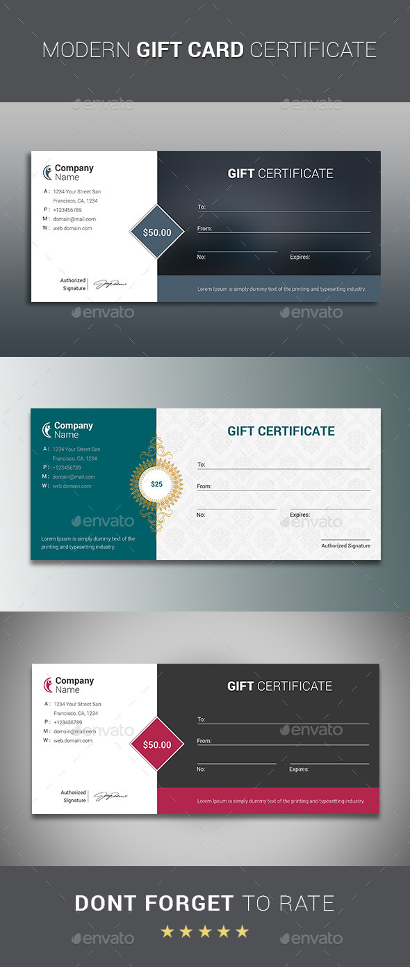 GraphicRiver Modern GIFT CARD CERTIFICATE 10527950