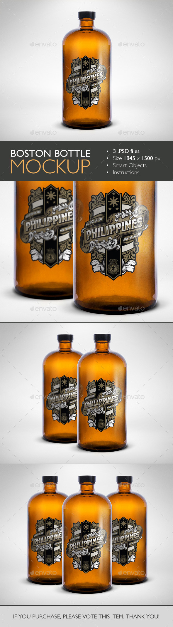 GraphicRiver Boston Round Bottle Mockup 10479709