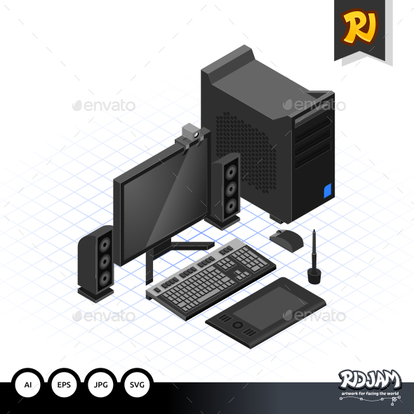GraphicRiver Isometric Computer Set 10509006