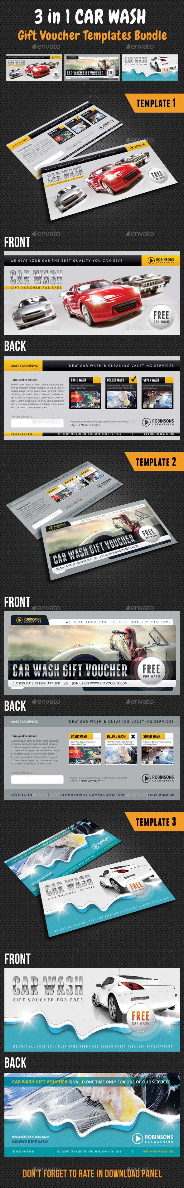 GraphicRiver 3 in 1 Car Wash Gift Voucher Bundle 10530559