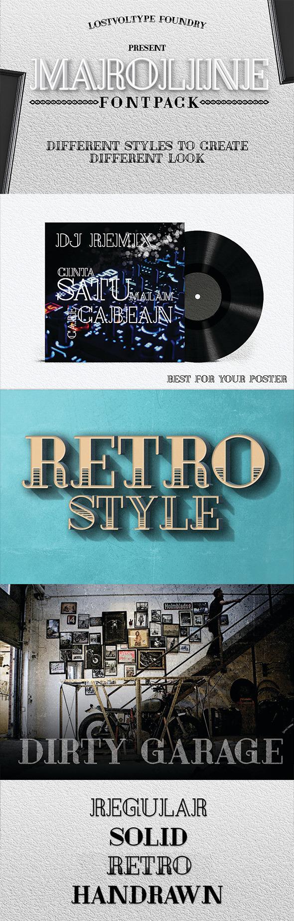 GraphicRiver Maroline Fontpack 10486033