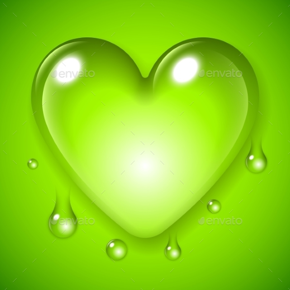 GraphicRiver Green Waterdrop Heart 10532044