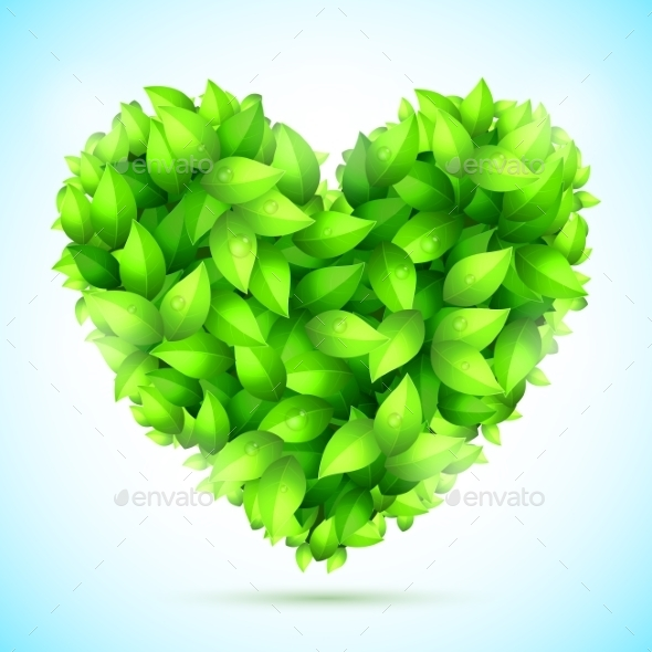 GraphicRiver Green Leaves Heart 10532133