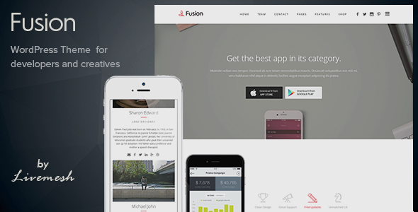 ThemeForest Fusion Mobile App Landing WordPress Theme 10532365