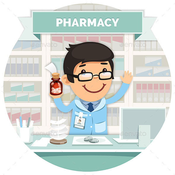 GraphicRiver Apothecary Behind the Counter at Pharmacy 10509815