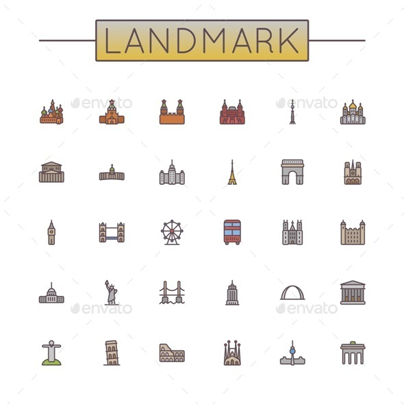 GraphicRiver Colored Landmark Line Icons 10532631