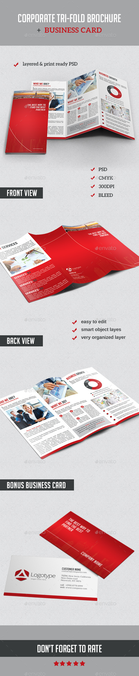GraphicRiver Corporate Tri-Fold Brochure & Business Card 10483488