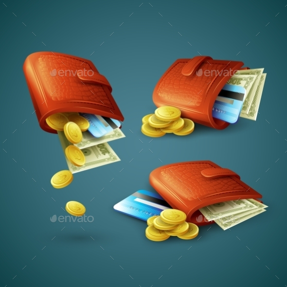 GraphicRiver Purses with Money Coins and Cards 10533077