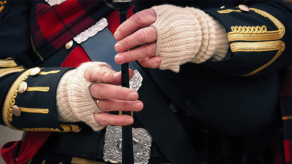 Hands Playing The Bagpipes