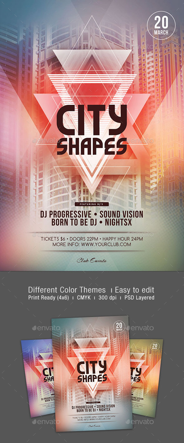 GraphicRiver City Shapes Flyer Template 10534190