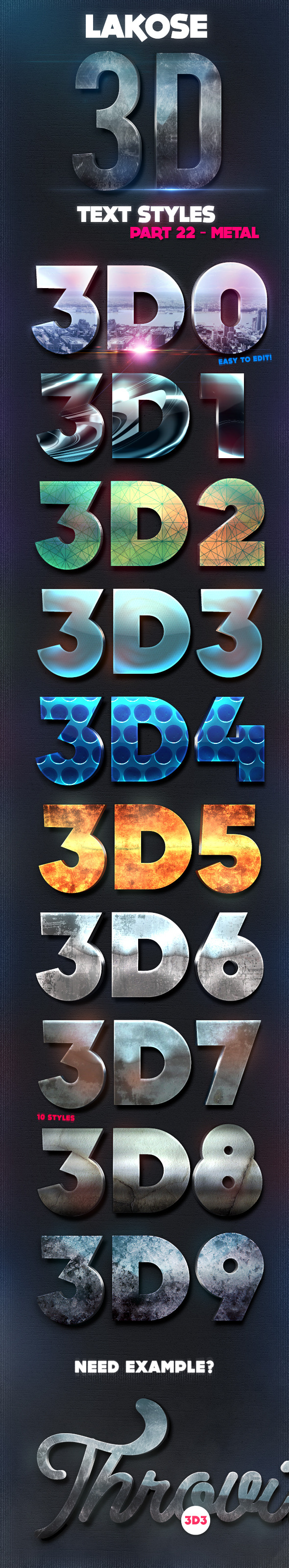 Lakose 3D Text Styles Part 22