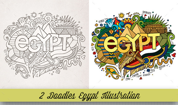 GraphicRiver Egypt Doodles Illustrations 10534463