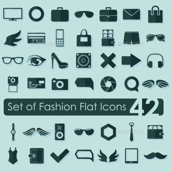 GraphicRiver Set of Fashion Flat Icons 10534500