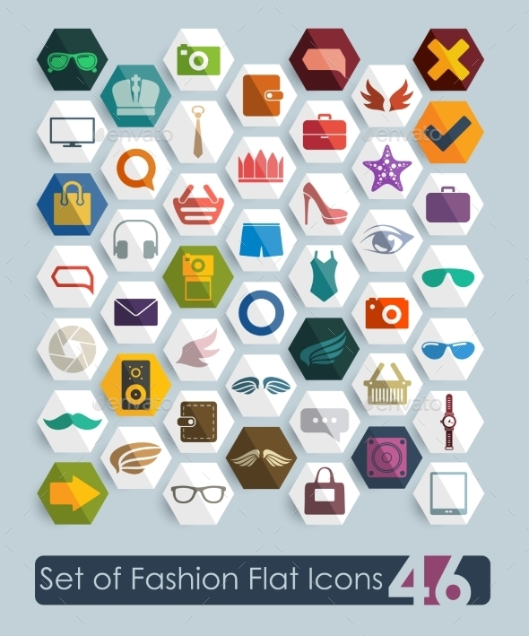 GraphicRiver Set of Fashion Flat Icons 10534516