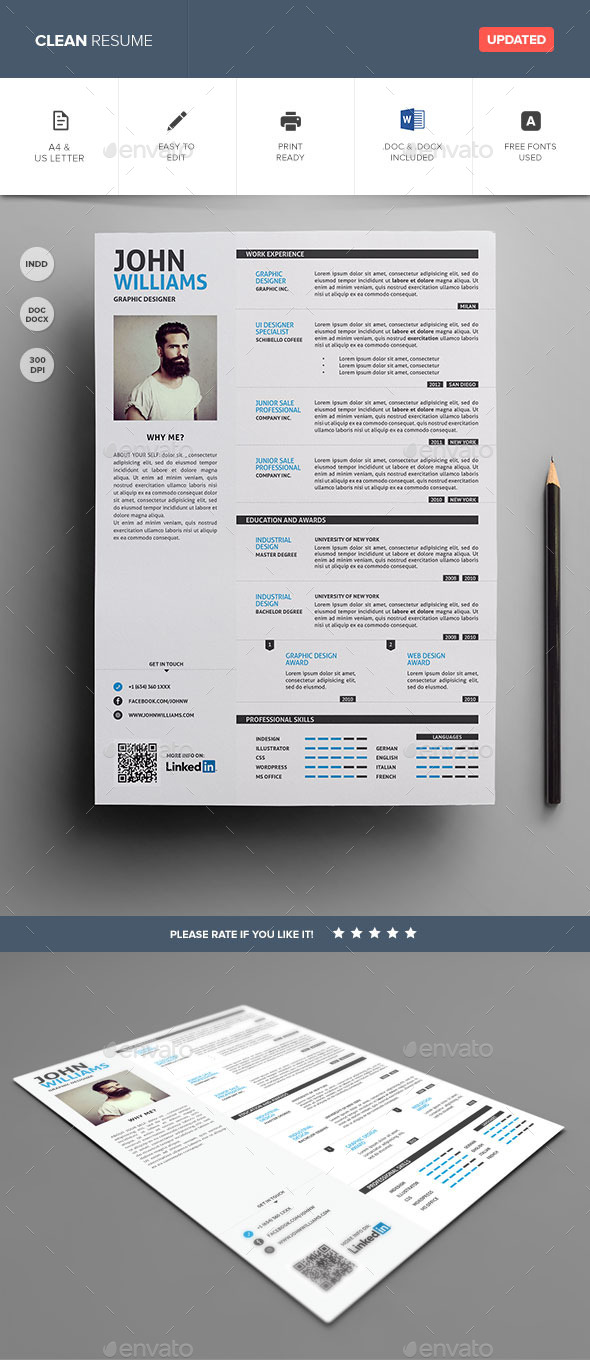 Clean Resume Vol.1 - Resumes Stationery