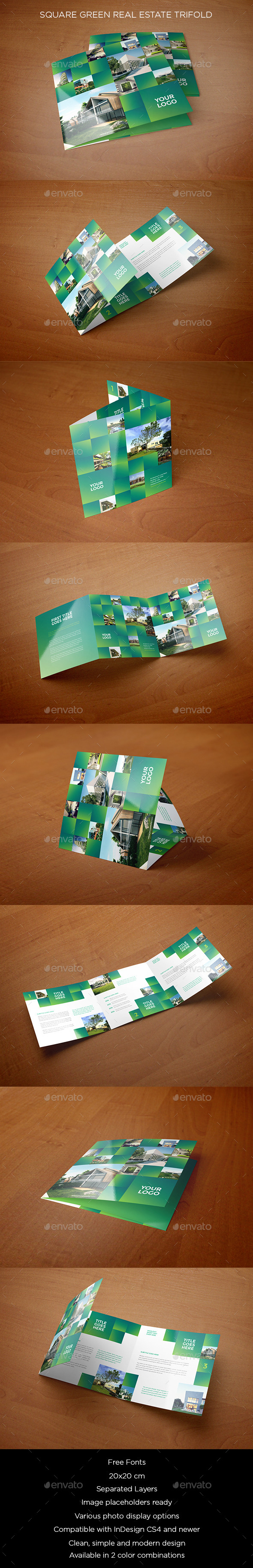 GraphicRiver Square Green Real Estate Trifold 10534658