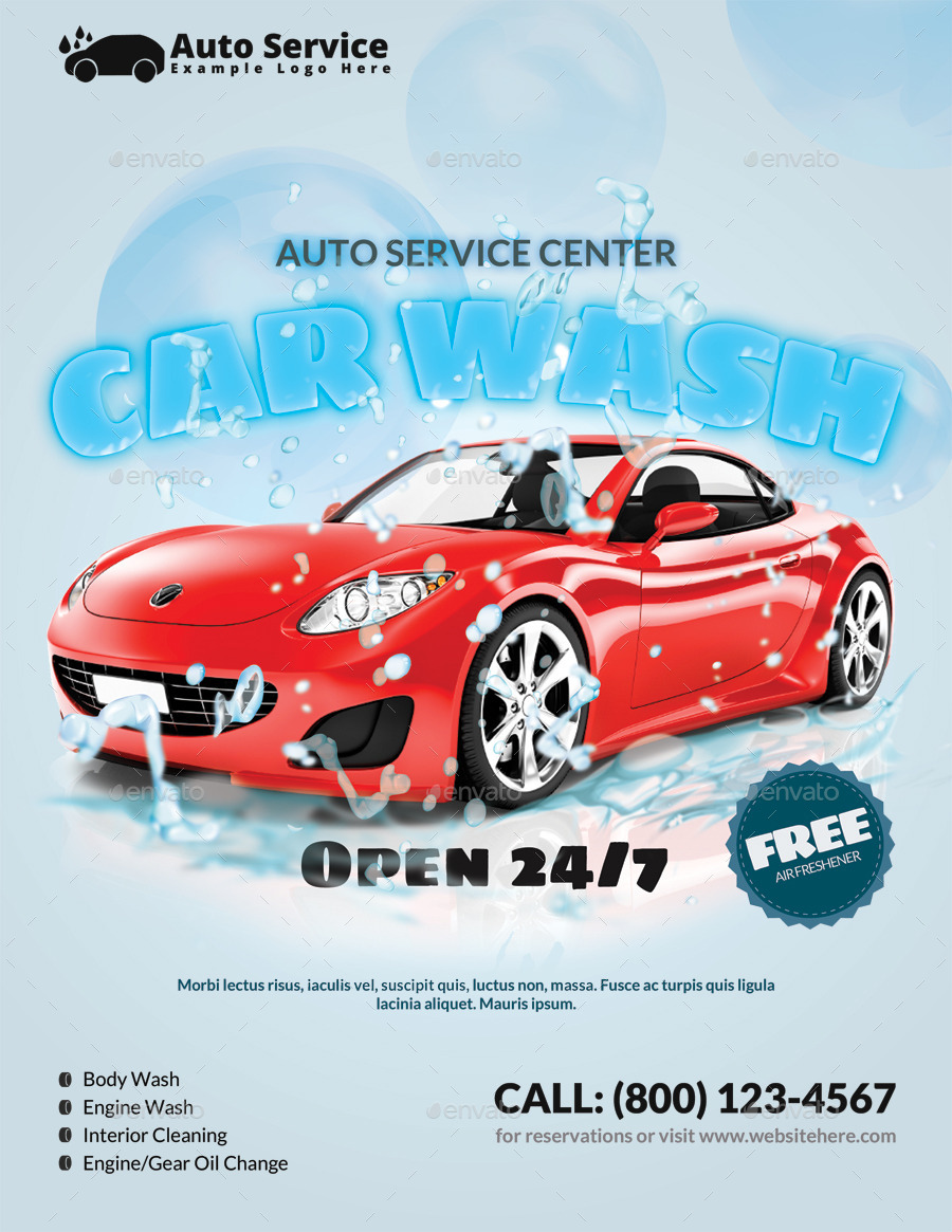 Car wash flyer by pmvch graphicriver for Car wash poster template free