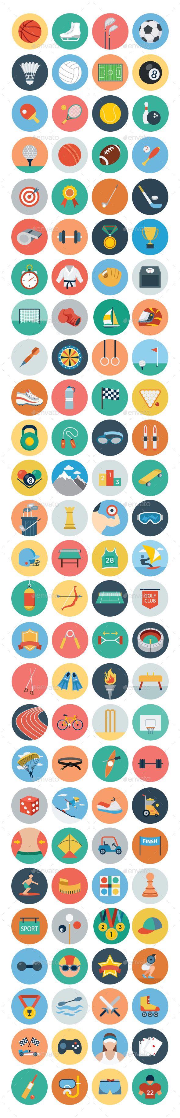 GraphicRiver 100& Sports Flat Icons 10534687