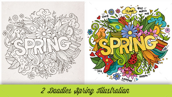 GraphicRiver Spring Doodles Illustrations 10534738