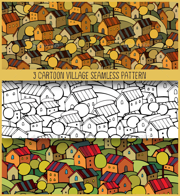 GraphicRiver 3 Cartoon Village Seamless Pattern 10534809