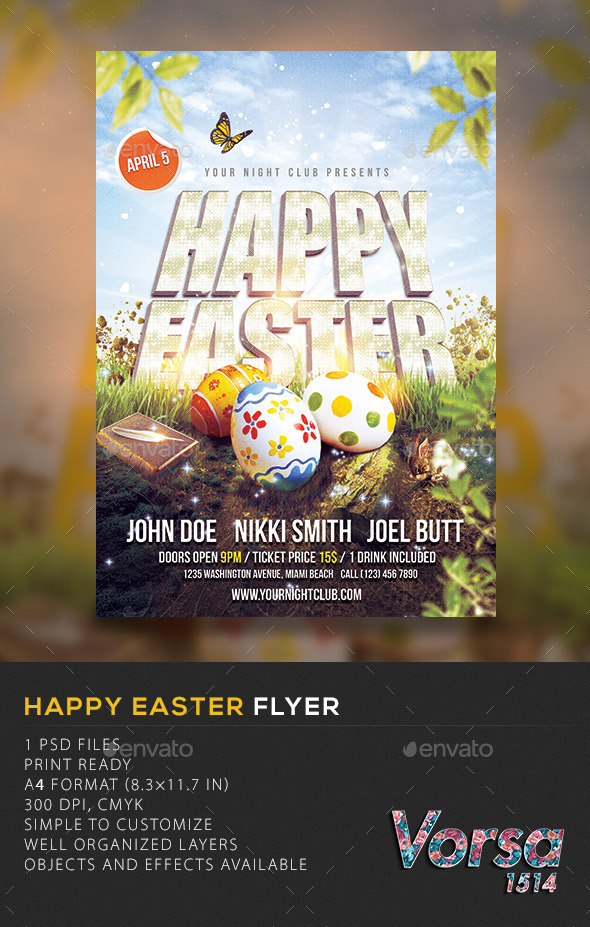 GraphicRiver Happy Easter Flyer 10481549