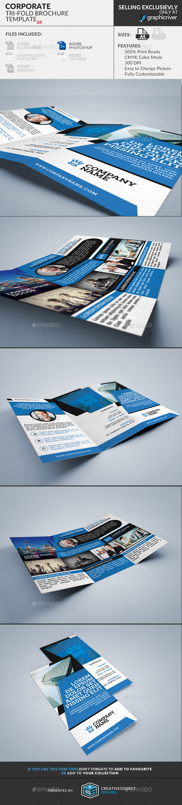 GraphicRiver Trifold Brochure 34 Corporate 10534979