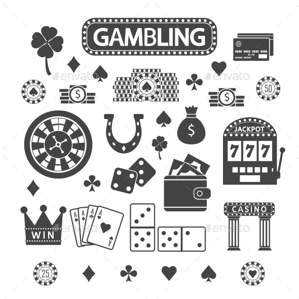 GraphicRiver Gambling Silhouette Icons Set 10535469