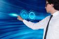 businessman pushing interface
