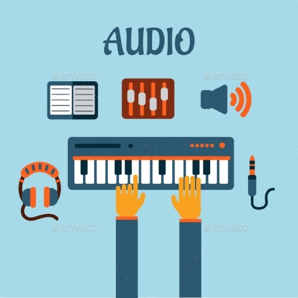 GraphicRiver Sound Recording Flat Concept 10536008