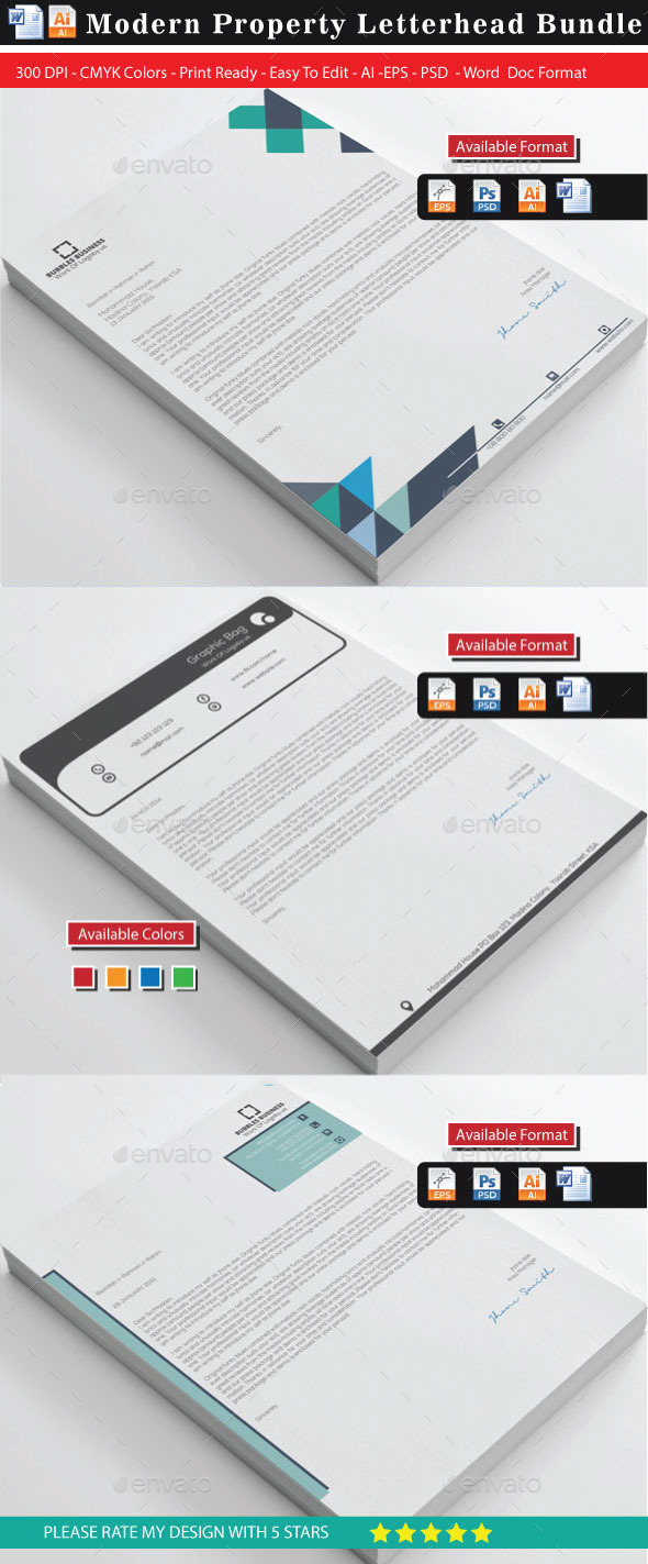GraphicRiver Modern Property Letterhead Bundle 10536017